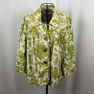 Charter Club linen blend paisley unlined jacket M
